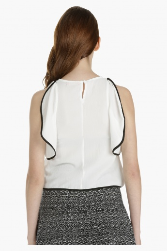 Woven Top with Piping Detail