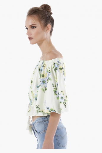 Off-Shoulder Printed Top with Tie Ups