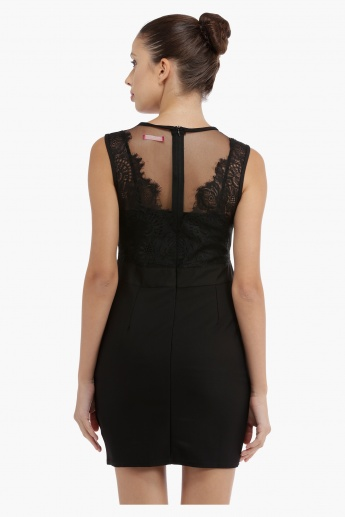 Lace Dress with Mesh Detail