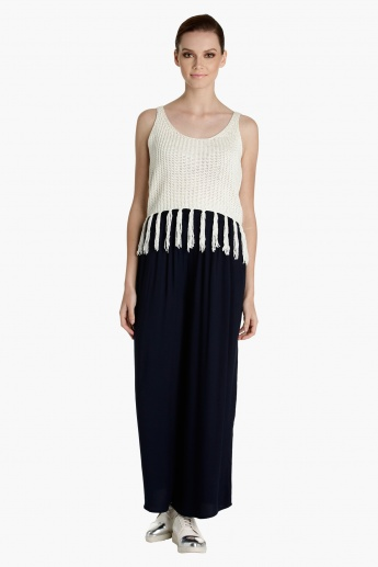 Knitted Top with Tassels and Straps