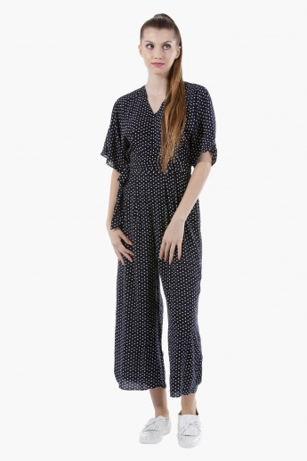 Batwing Jumpsuit with Tie-Up Neck in Regular Fit