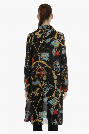 Printed Long Shirt with Neck Tie Ups