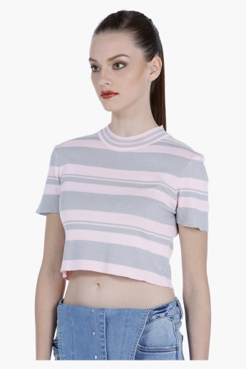 Striped Crop T-shirt with Short Sleeves