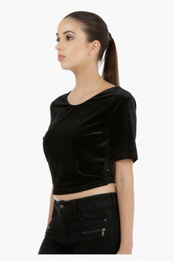 Velour Top with Lace Back