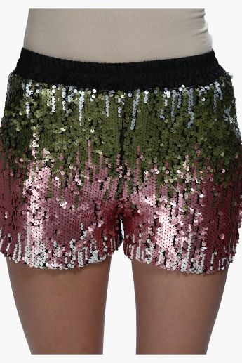 Sequin Shorts with Elasticised Waistband