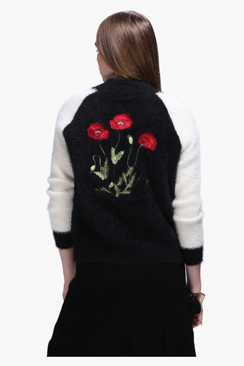 Sweater with Back Floral Embroidery