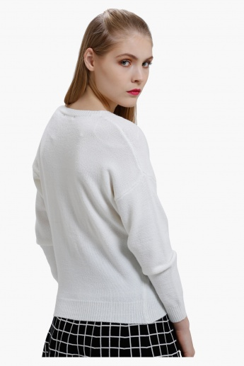 Embroidered Jumper with round Neck and Long Sleeves
