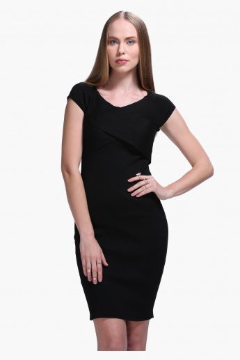 Crossover Front Short Sleeves Bodycon Dress