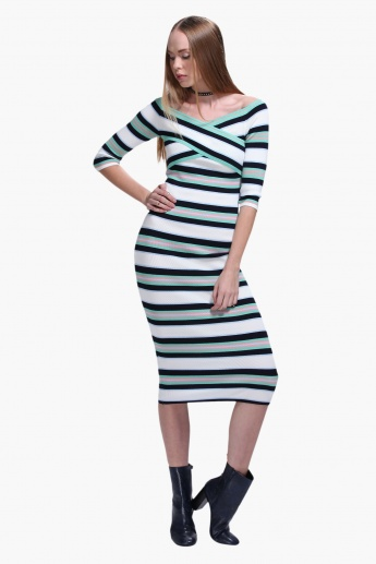 Striped Off Shoulder Midi Dress