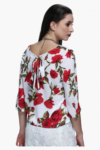 Floral Print Top with Tie Ups at Back
