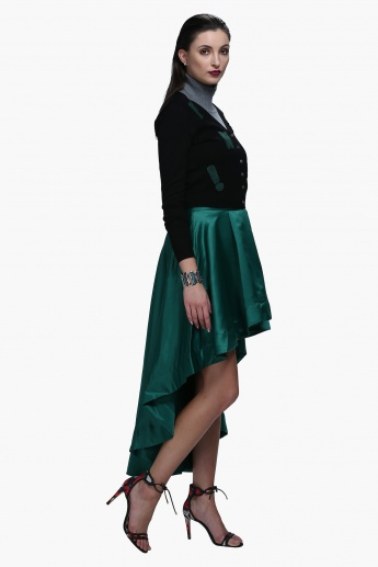 Pleated Skirt with High Low Hem