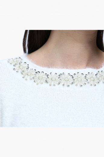 Embellished Round Neck Sweater