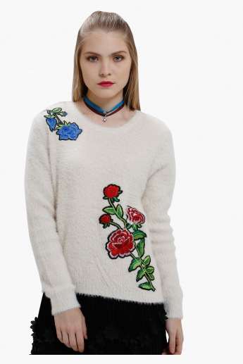 High Low Sweater with Rose Applique and Long Sleeves