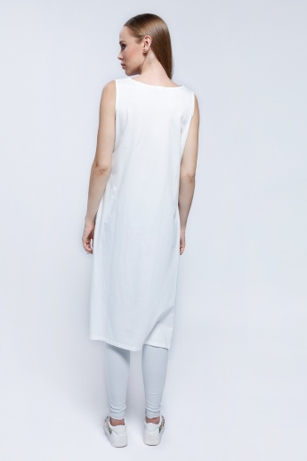 2Xtremz Sleeveless Printed Long Tunic with Side Slits