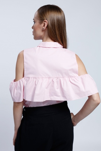 2Xtremz Cold Shoulder Shirt with Ruffle Pattern