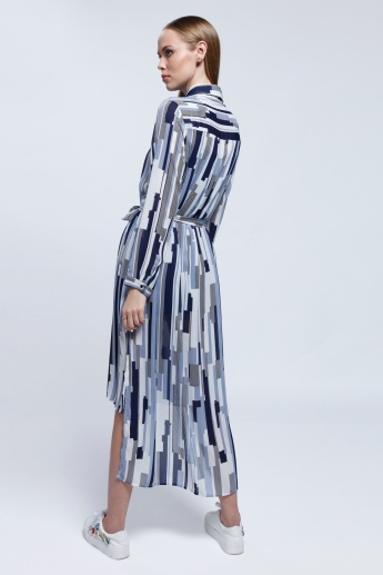 2Xtremz Printed Long Shirt Dress with Long Sleeves and Tie Up