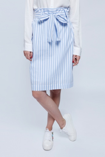 2Xtremz Striped Skirt with Tie Up Belt