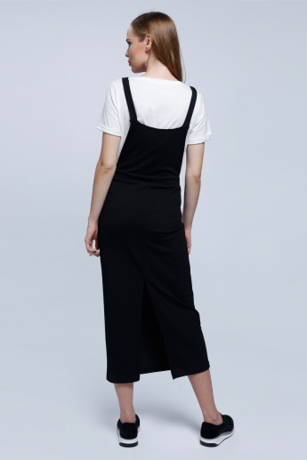 2Xtremz Pinafore Dress with Adjustable Straps and Back Slit