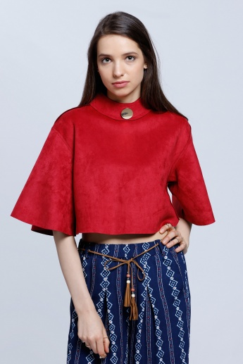 Crop Suede Boxy Top with Button Embellishment