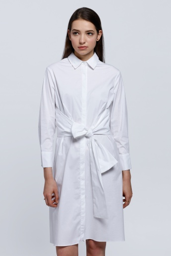 2Xtremz Shirt Dress with Tie Up and Long Sleeves