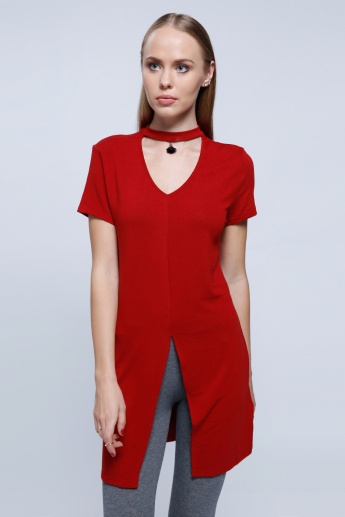 2Xtremz Front Slit Top with Choker Neck