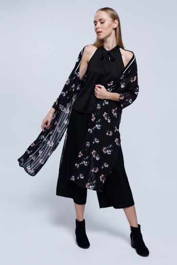 2Xtremz Printed Ribbed Kimono Top with 3/4 Sleeves