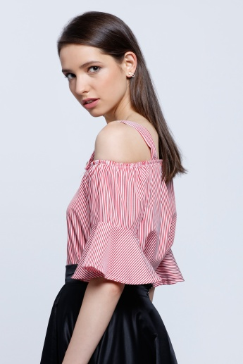 Off Shoulder Yarn Dye Strappy Top