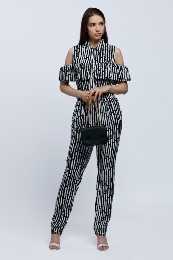 Printed Jumpsuit with Ruffle Detail