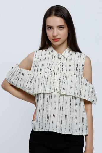 2Xtremz Printed Off Shoulder Top