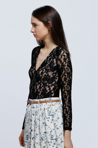 Long Sleeves Lace Bodysuit with Open Front