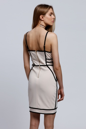 Piping Bodycon Dress with Adjustable Spaghetti Straps and Zip Closure