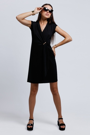 2Xtremz Front Wrap Dress with Short Sleeves