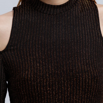 2Xtremz Ribbed Bodycon Dress with Cold Shoulder