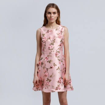 2Xtremz Sleeveless Dress with Floral Appliques and Round Neck