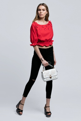 Floral Applique Top with Elasticised Cuffs and Hem