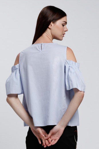 Cold Shoulder Top with Round Neck