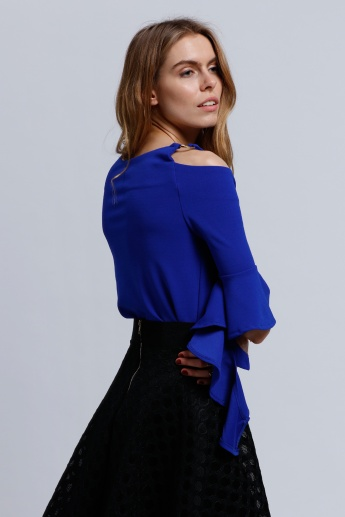 2Xtremz Cold Shoulder Top with Ruffle Sleeves
