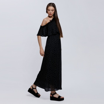 2Xtremz Printed Double Layer Maxi Dress with Lace Detail