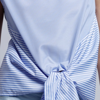 Striped Sleeveless Top with Tie Up Front