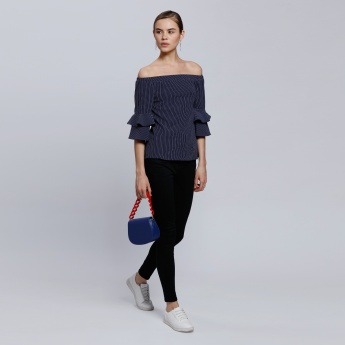 2Xtremz Striped Off Shoulder Top