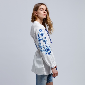 2Xtremz Embroidered Shirt Dress with Long Sleeves