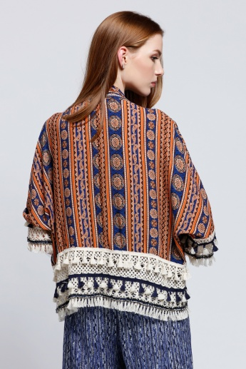 2Xtremz Printed Open Front Shrug with 3/4 Sleeves and Tassels