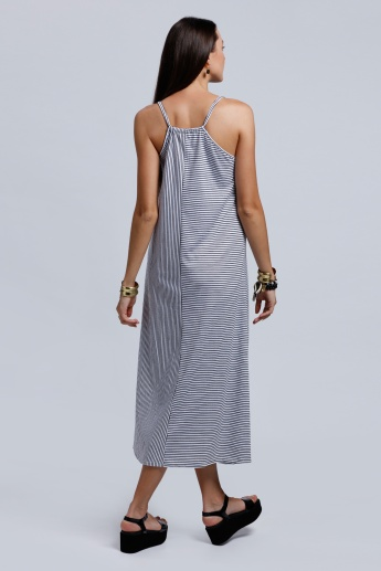 2Xtremz Striped Maxi dress with Eyelets on the Straps