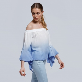 Off Shoulder Top with Ruffle Sleeves