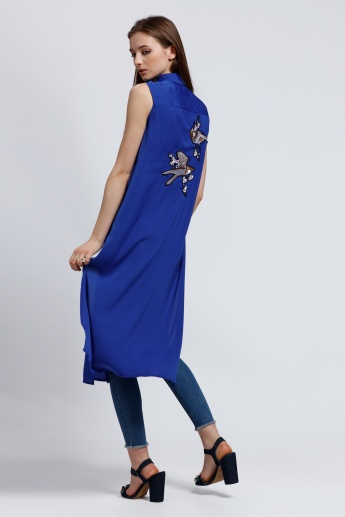 2Xtremz Sleeveless Longline Tunic with Embroidered Back