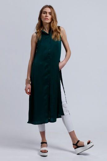 2Xtremz Sleeveless Long Line Top with Embroidered Back