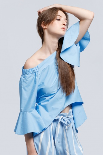 Off Shoulder Poplin Top with Bell Sleeves