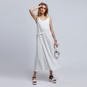 2Xtremz Sleeveless Maxi Dress with Round Neck and Buckle Detail