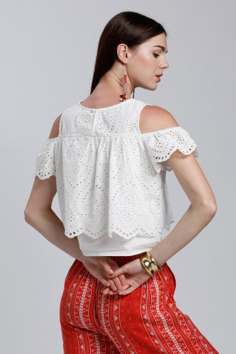 Schiffli Cold Shoulder Layer Top