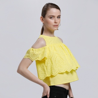 Textured Double Layer Top with Cold Shoulders and Round Neck